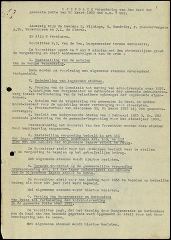 Putte: Notulen gemeenteraad, 1928-1996 1933-01-01