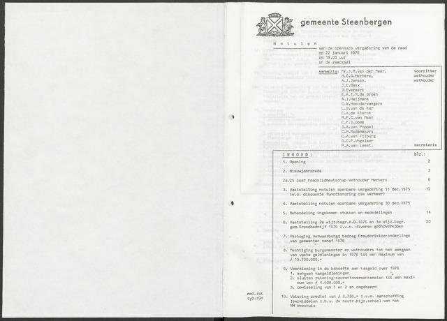 Steenbergen: Notulen gemeenteraad, 1920-1996 1976-01-01