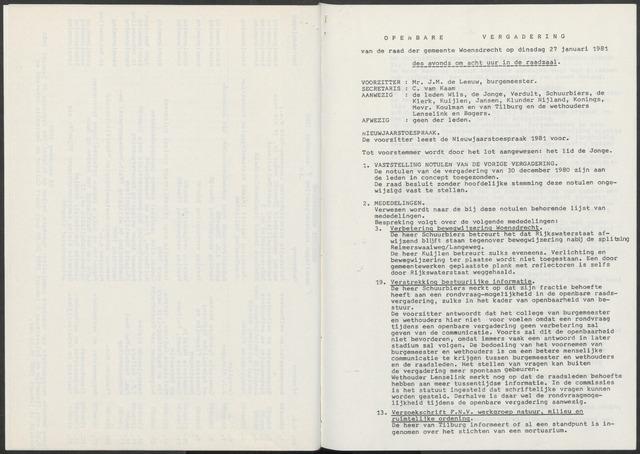 Woensdrecht: Notulen gemeenteraad, 1922-1996 1981-01-01