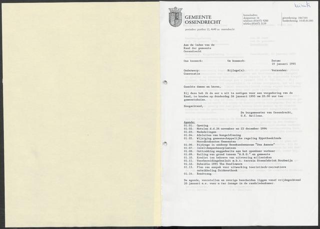 Ossendrecht: Notulen gemeenteraad, 1920-1996 1995
