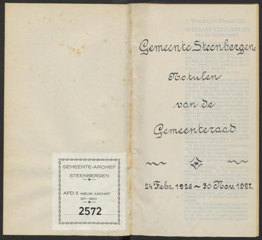 Steenbergen: Notulen gemeenteraad, 1920-1996 1926-01-01