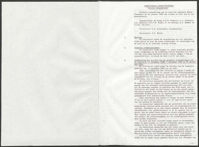 Nieuw-Vossemeer: Notulen gemeenteraad, 1957-1996 1989-01-01