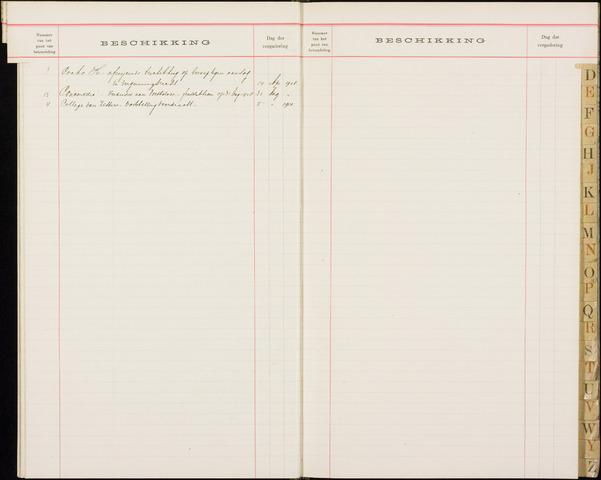 Roosendaal: Alfabetische index, gemeenteraadsnotulen, 1903-1911 1908