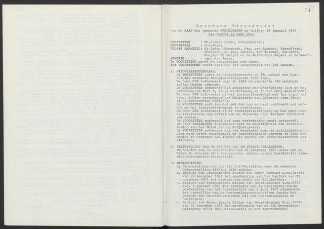 Woensdrecht: Notulen gemeenteraad, 1922-1996 1968-01-01