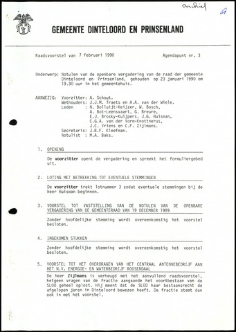 Dinteloord: Notulen gemeenteraad, 1946-1996 1990