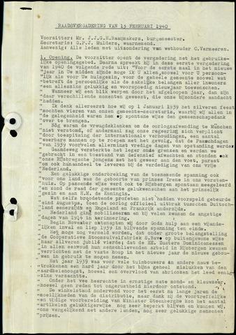 Rijsbergen: Notulen gemeenteraad, 1940-1996 1940