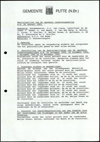 Putte: Notulen gemeenteraad, 1928-1996 1993-01-01