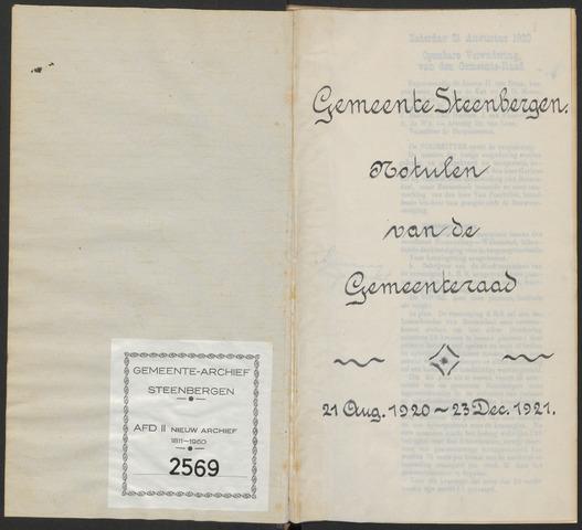 Steenbergen: Notulen gemeenteraad, 1920-1996 1920-01-01