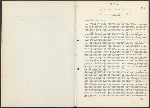 Woensdrecht: Notulen gemeenteraad, 1922-1996 1959-01-01