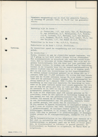 Zundert: Notulen gemeenteraad, 1934-1988 1969-01-01