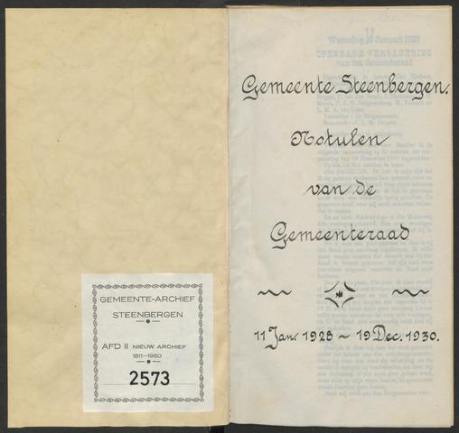 Steenbergen: Notulen gemeenteraad, 1920-1996 1928-01-01