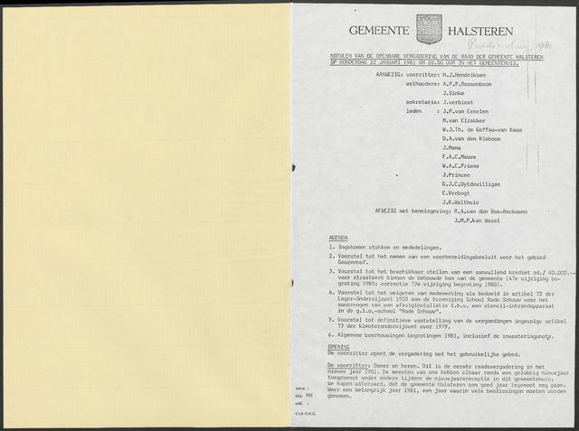 Halsteren: Notulen gemeenteraad, 1960-1996 1981