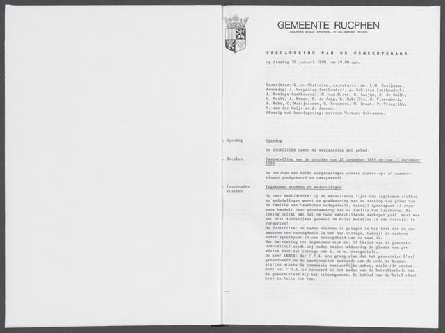 Rucphen: Notulen gemeenteraad, dec. 1949-1998 1990-01-01