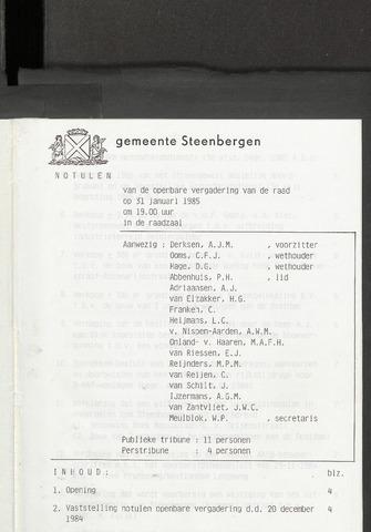 Steenbergen: Notulen gemeenteraad, 1920-1996 1985-01-01
