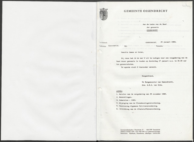 Ossendrecht: Notulen gemeenteraad, 1920-1996 1983