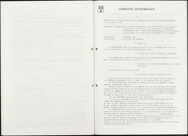 Zevenbergen: Notulen gemeenteraad, 1930-1996 1982-01-01