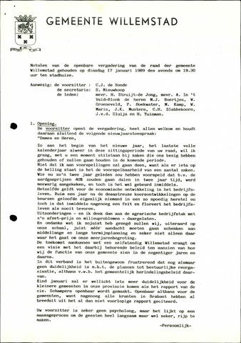Willemstad: Notulen gemeenteraad, 1927-1995 1989-01-01