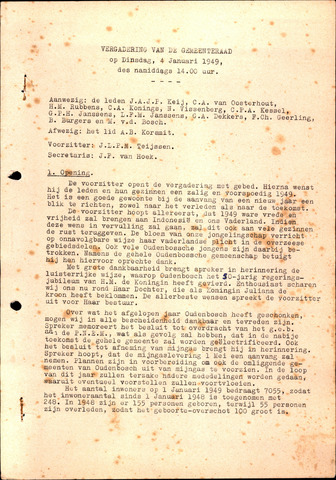 Oudenbosch: Notulen gemeenteraad, 1939-1994 1949-01-01