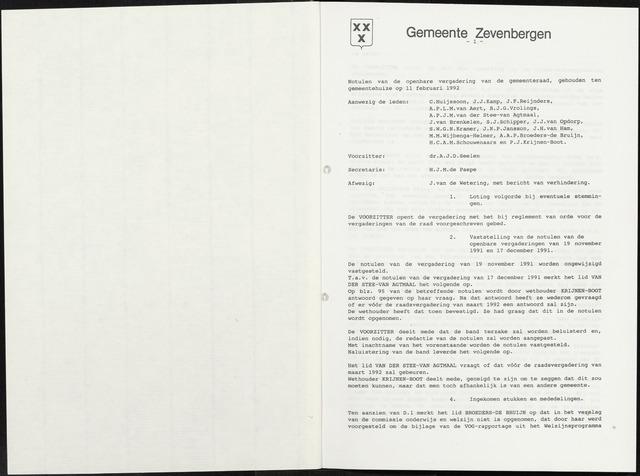 Zevenbergen: Notulen gemeenteraad, 1930-1996 1992-01-01