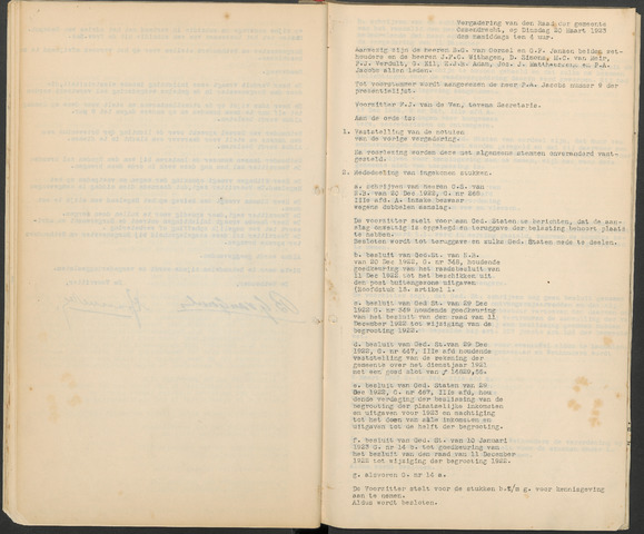 Ossendrecht: Notulen gemeenteraad, 1920-1996 1923