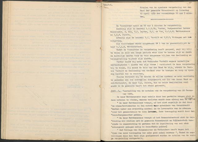 Ossendrecht: Notulen gemeenteraad, 1920-1996 1939