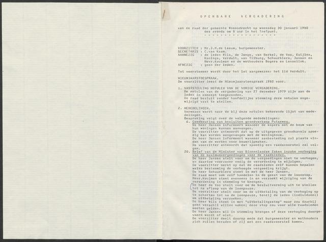 Woensdrecht: Notulen gemeenteraad, 1922-1996 1980-01-01