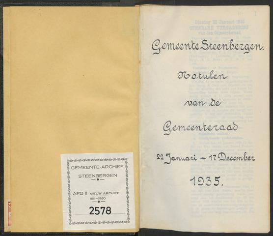 Steenbergen: Notulen gemeenteraad, 1920-1996 1935-01-01