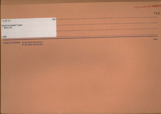 Fijnaart en Heijningen: notulen gemeenteraad, 1934-1995 1989