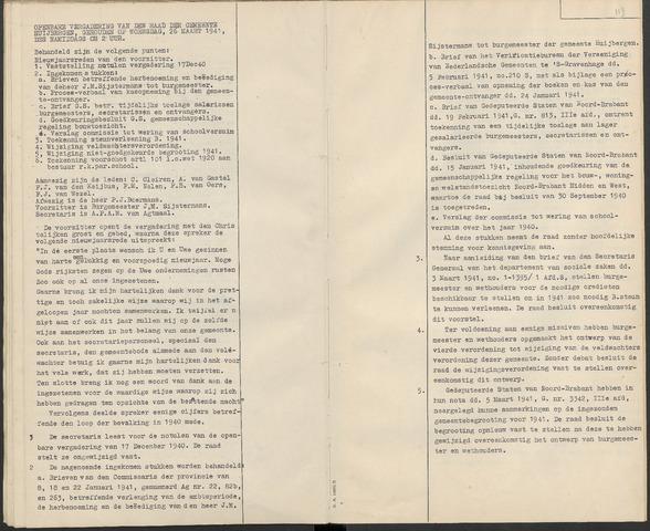 Huijbergen: Notulen gemeenteraad 1935-1996 1941-01-01