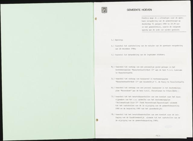 Hoeven: Notulen gemeenteraad, 1928-1996 1985-01-01