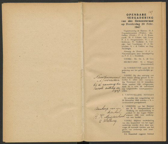 Steenbergen: Notulen gemeenteraad, 1920-1996 1947-01-01