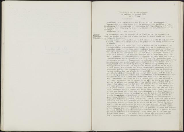 Oud en Nieuw Gastel: Notulen gemeenteraad, 1938-1980 1959-01-01