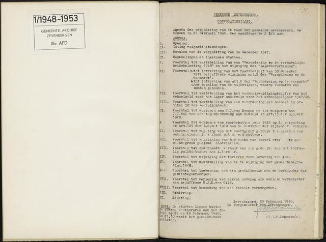 Zevenbergen: Notulen gemeenteraad, 1930-1996 1948-01-01