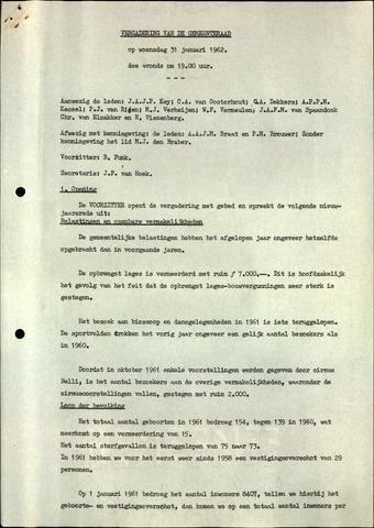Oudenbosch: Notulen gemeenteraad, 1939-1994 1962-01-01