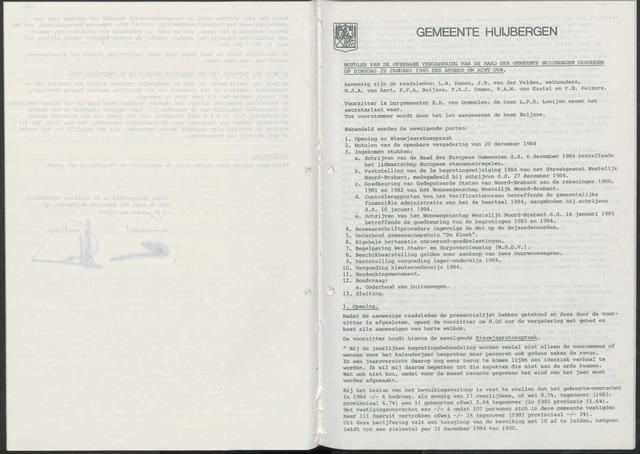 Huijbergen: Notulen gemeenteraad 1935-1996 1985-01-01