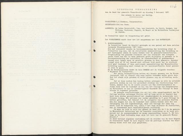 Woensdrecht: Notulen gemeenteraad, 1922-1996 1961-01-01