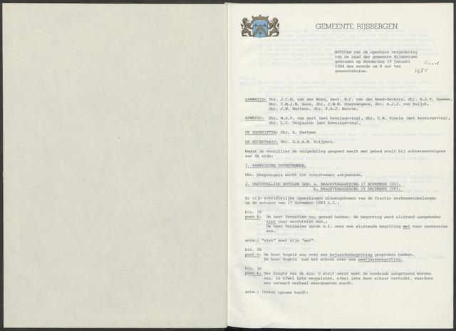 Rijsbergen: Notulen gemeenteraad, 1940-1996 1984