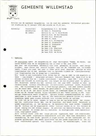 Willemstad: Notulen gemeenteraad, 1927-1995 1993-01-01