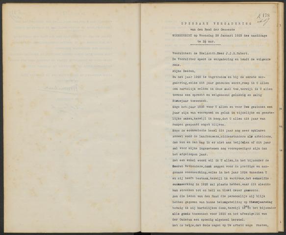 Woensdrecht: Notulen gemeenteraad, 1922-1996 1925-01-01