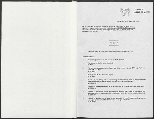 Bergen op Zoom: Notulen gemeenteraad, 1926-1996 1992-01-01