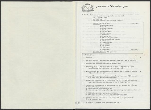 Steenbergen: Notulen gemeenteraad, 1920-1996 1980-01-01