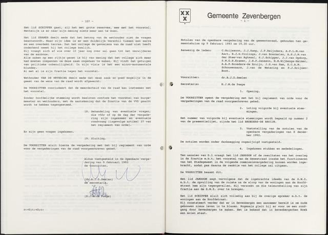Zevenbergen: Notulen gemeenteraad, 1930-1996 1993-01-01