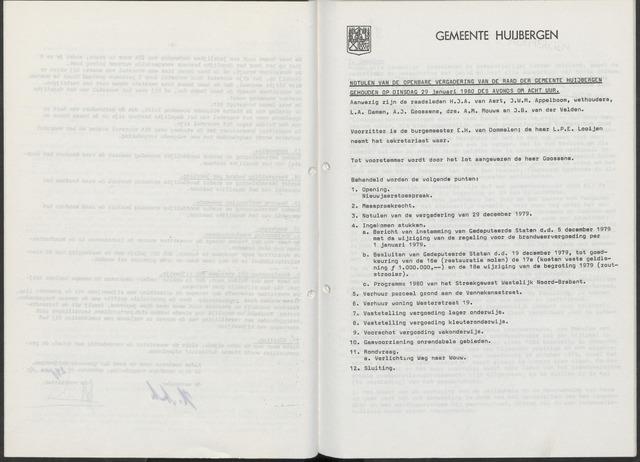 Huijbergen: Notulen gemeenteraad 1935-1996 1980-01-01