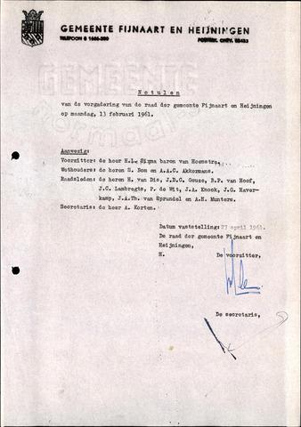 Fijnaart en Heijningen: notulen gemeenteraad, 1934-1995 1961