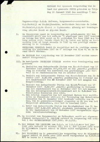 Putte: Notulen gemeenteraad, 1928-1996 1948-01-01
