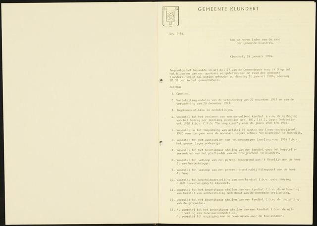 Klundert: Notulen gemeenteraad, mei 1933-1996 1984