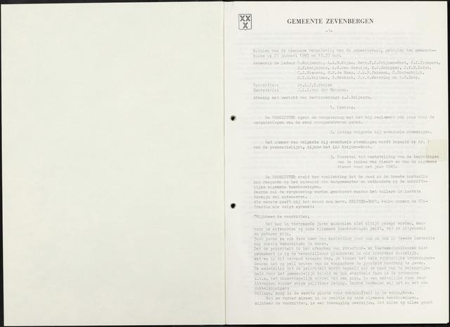 Zevenbergen: Notulen gemeenteraad, 1930-1996 1983-01-01