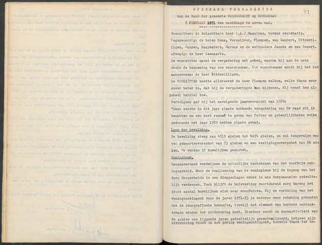 Woensdrecht: Notulen gemeenteraad, 1922-1996 1951-01-01