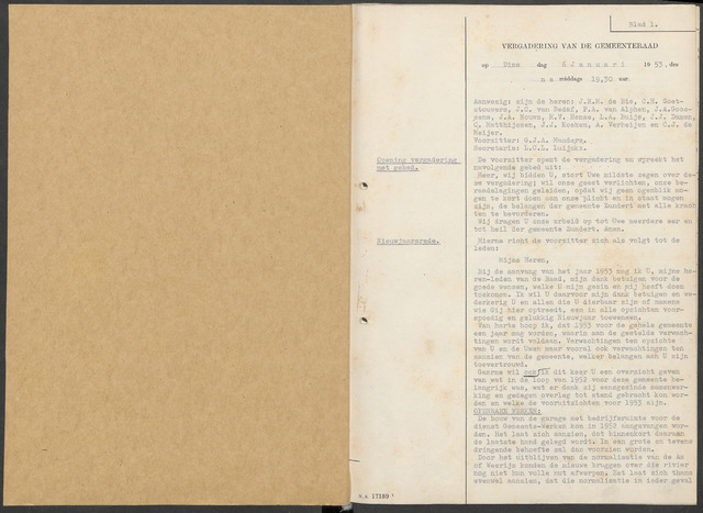 Zundert: Notulen gemeenteraad, 1934-1988 1953-01-01
