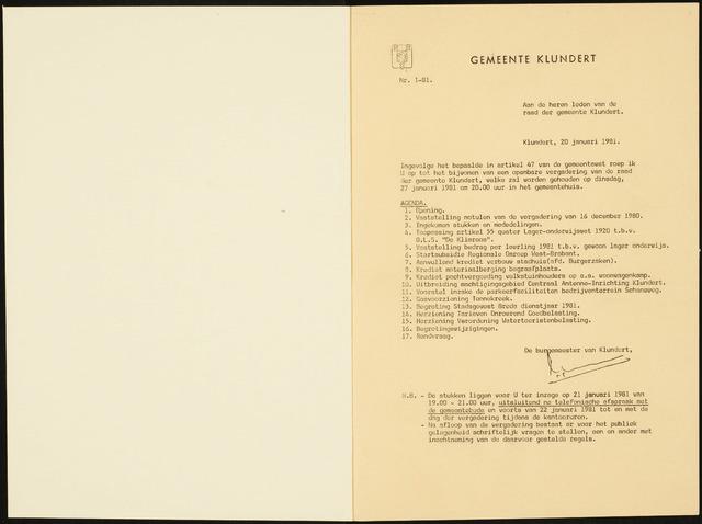 Klundert: Notulen gemeenteraad, mei 1933-1996 1981